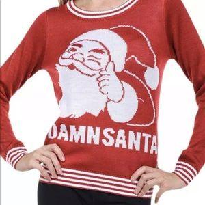 Women Medium Red Damn Santa Ugly Christmas Sweater